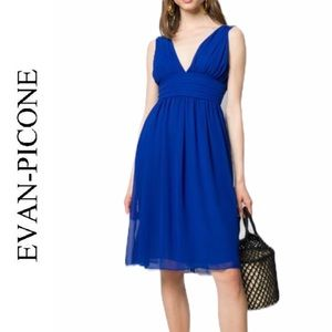 Evan Picone Blue Chiffon Cocktail Dress